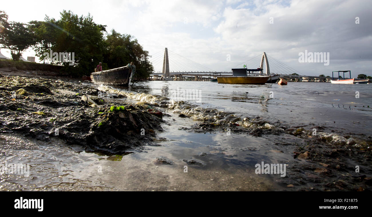 Rio de Janeiro,Brazil- March 03rd 2015- Garbage floats in a polluted beach at the Guanabara bay, where the sailing Stock Photo