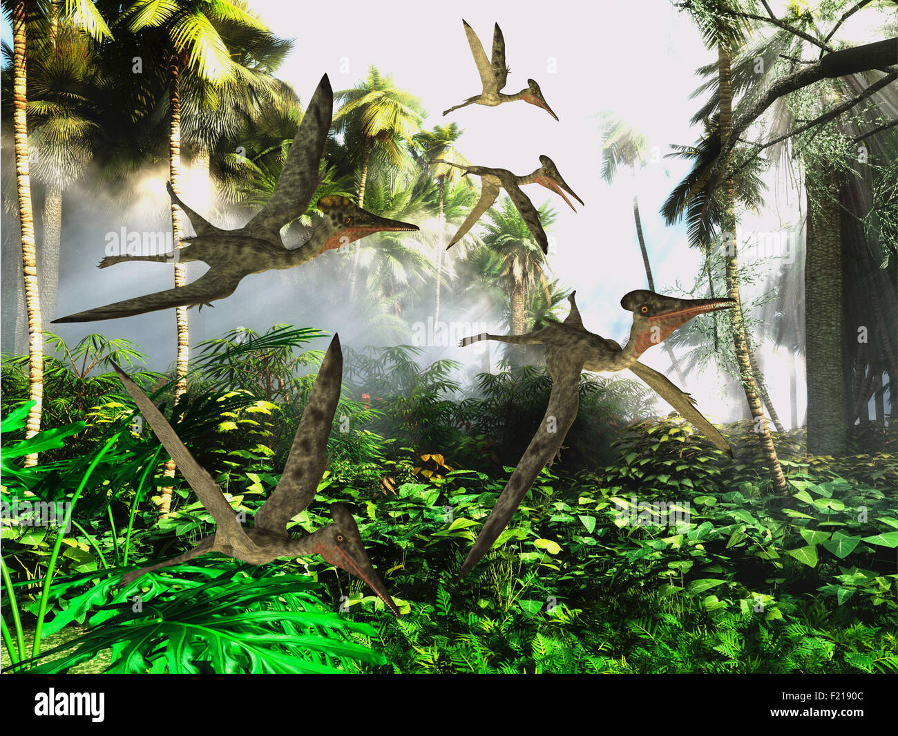 A flock of Pterodactylus dinosaur reptiles fly over the jungle searching for their next meal. - Stock Image
