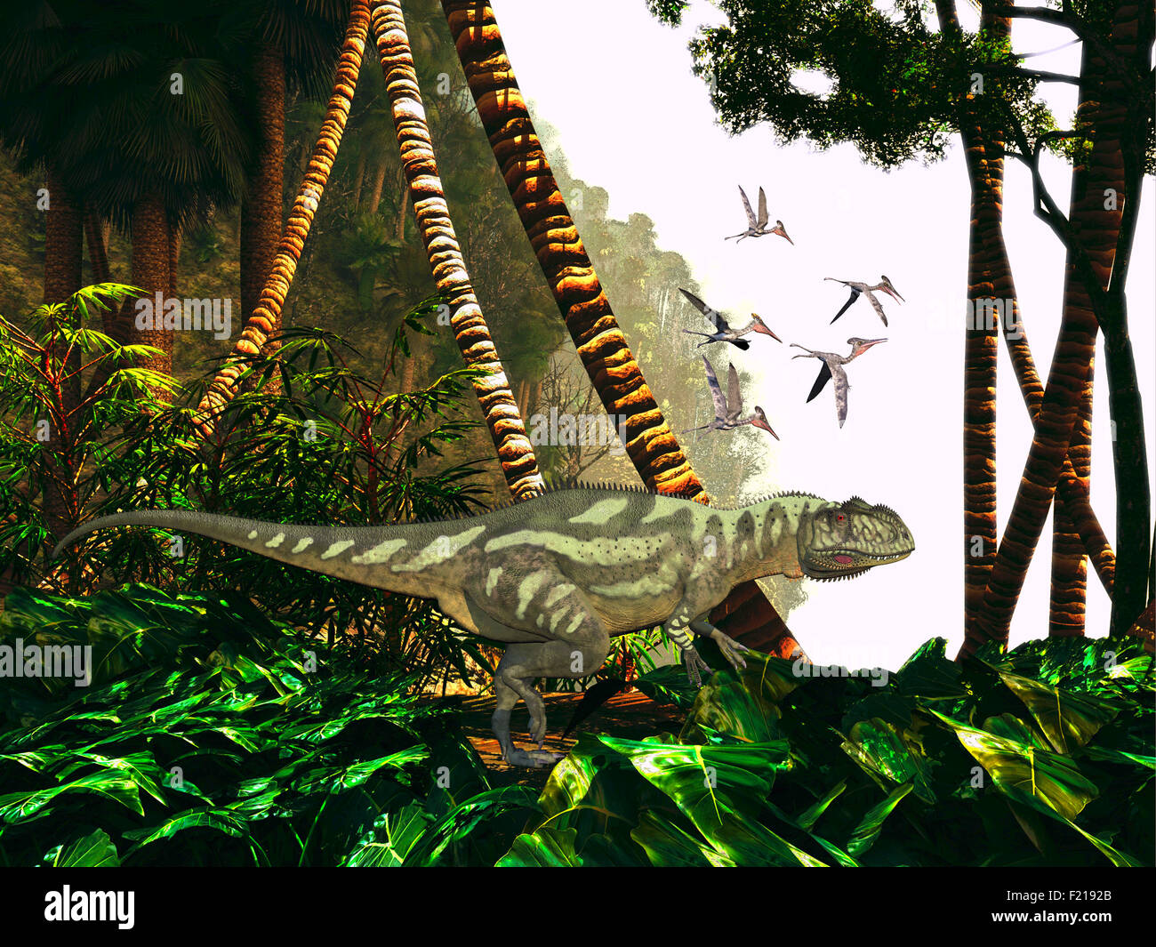 A Yangchuanosaurus hunts through heavy jungle foliage for prey as a flock of Pterodactylus reptiles keep close watch - Stock Image