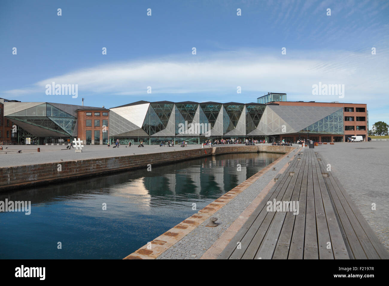 The Culture Yard in the area of the old shipyard on the waterfront in Elsinore  Harbour, Helsingør, Denmark. - Stock Image