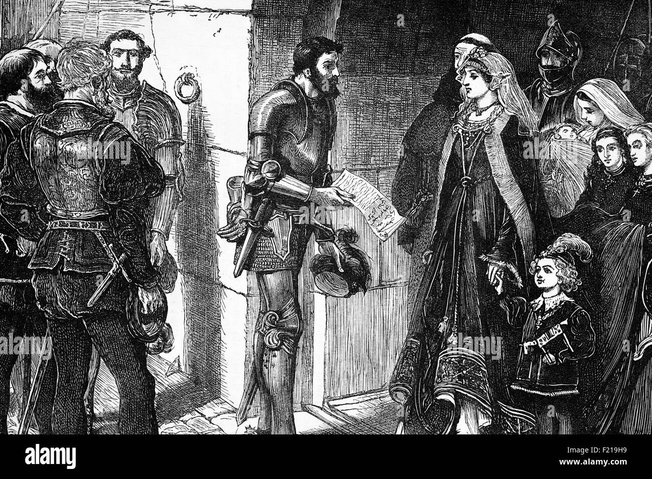 1515, Scotch peers demand the children of Queen Margaret,daughter of Henry VII of England, part of the intrigues - Stock Image