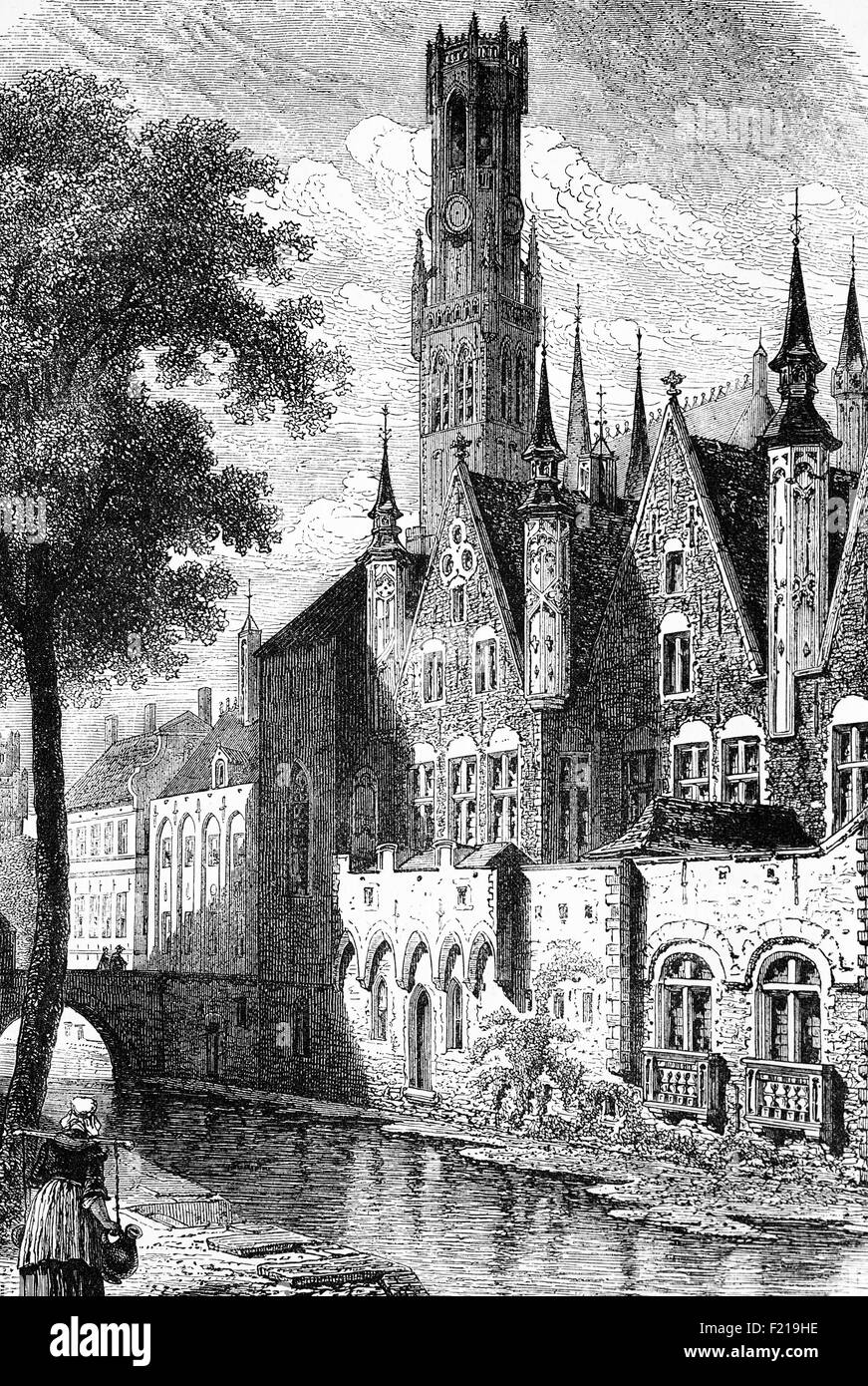 The Palace of the Franks in Bruges, Capital and largest city of the province of West Flanders in the Flemish Region - Stock Image
