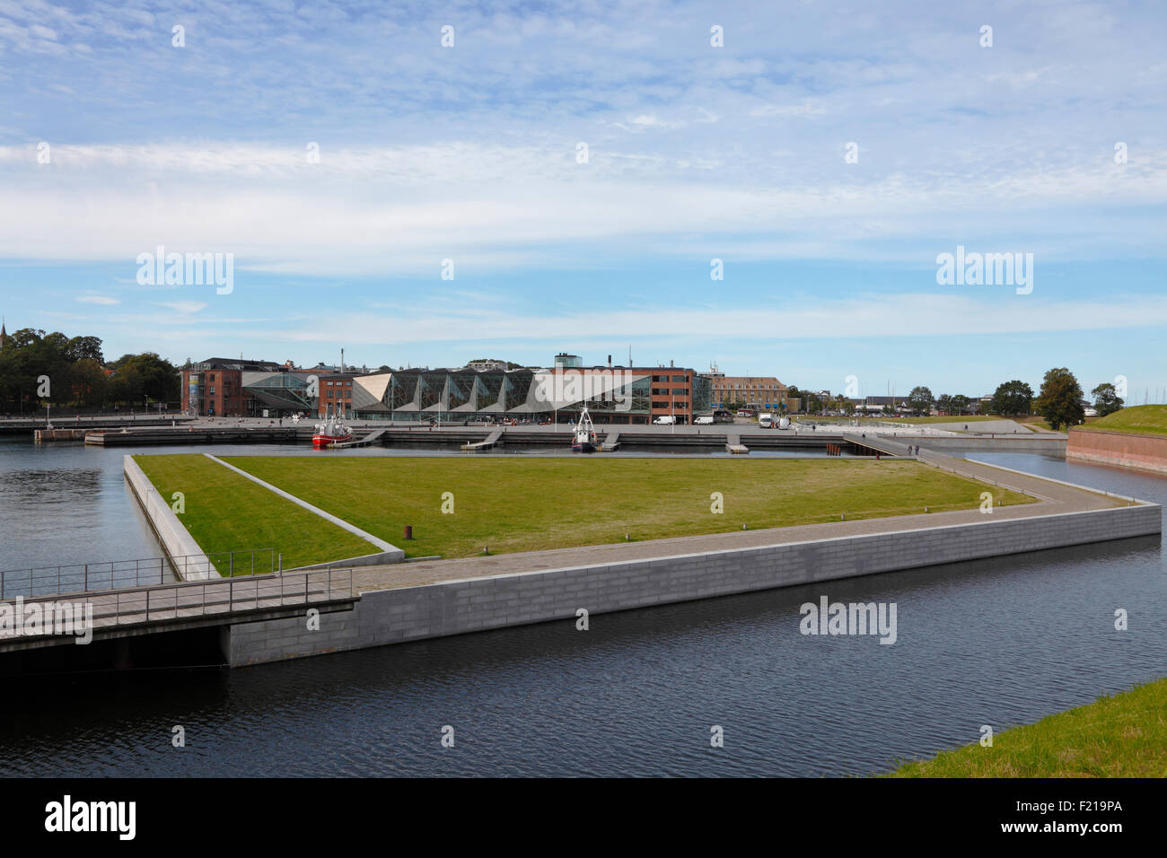 The siting of the Culture Yard on the waterfront in Elsinore / Helsingør, Denmark, seen from the ramparts of - Stock Image