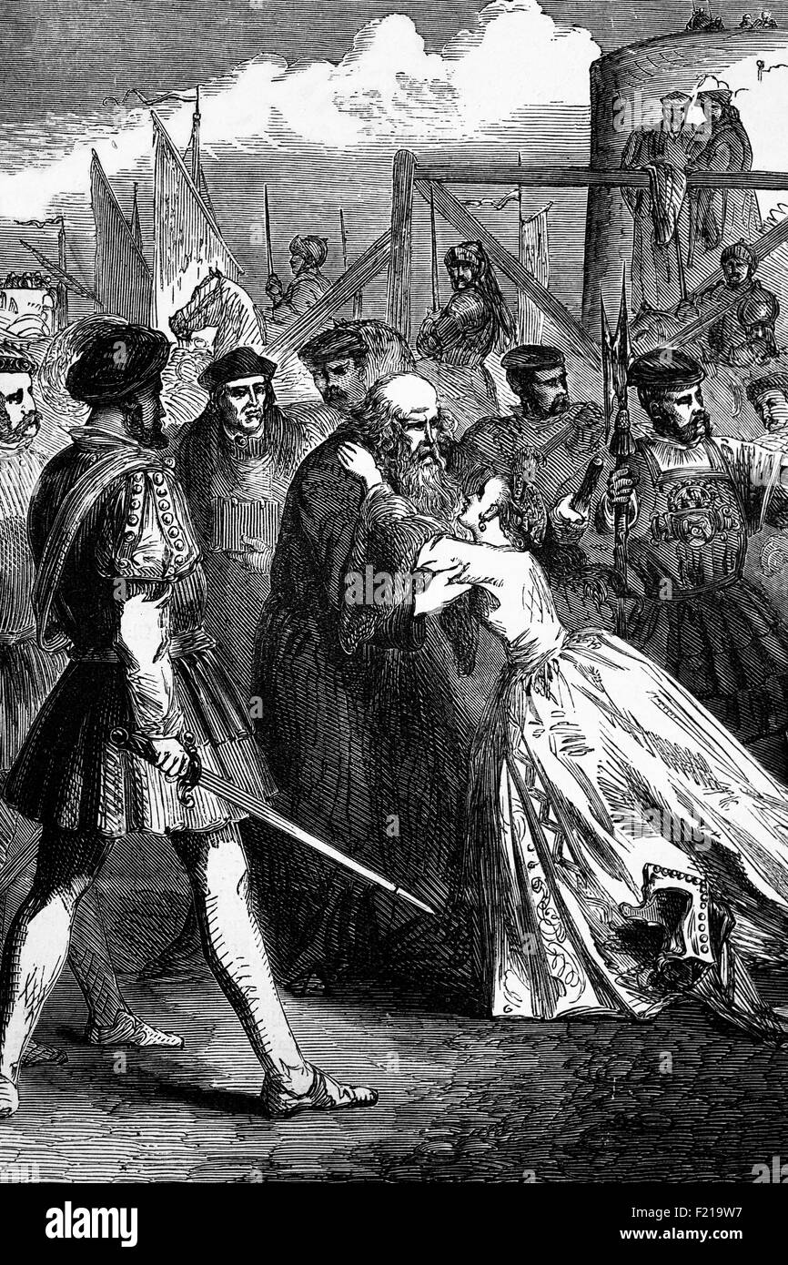 Margaret Roper, daughter of Sir Thomas More with her father shortly before his execution on 6 July 1535. He was - Stock Image