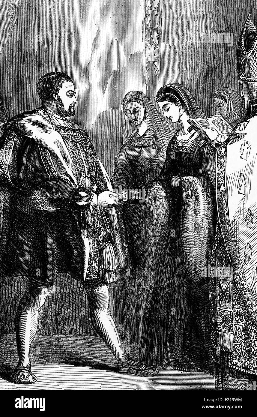 The Marriage of Henry VIII to Catherine Parr on 12 July 1543. The last of his six wives, she was the fourth commoner - Stock Image