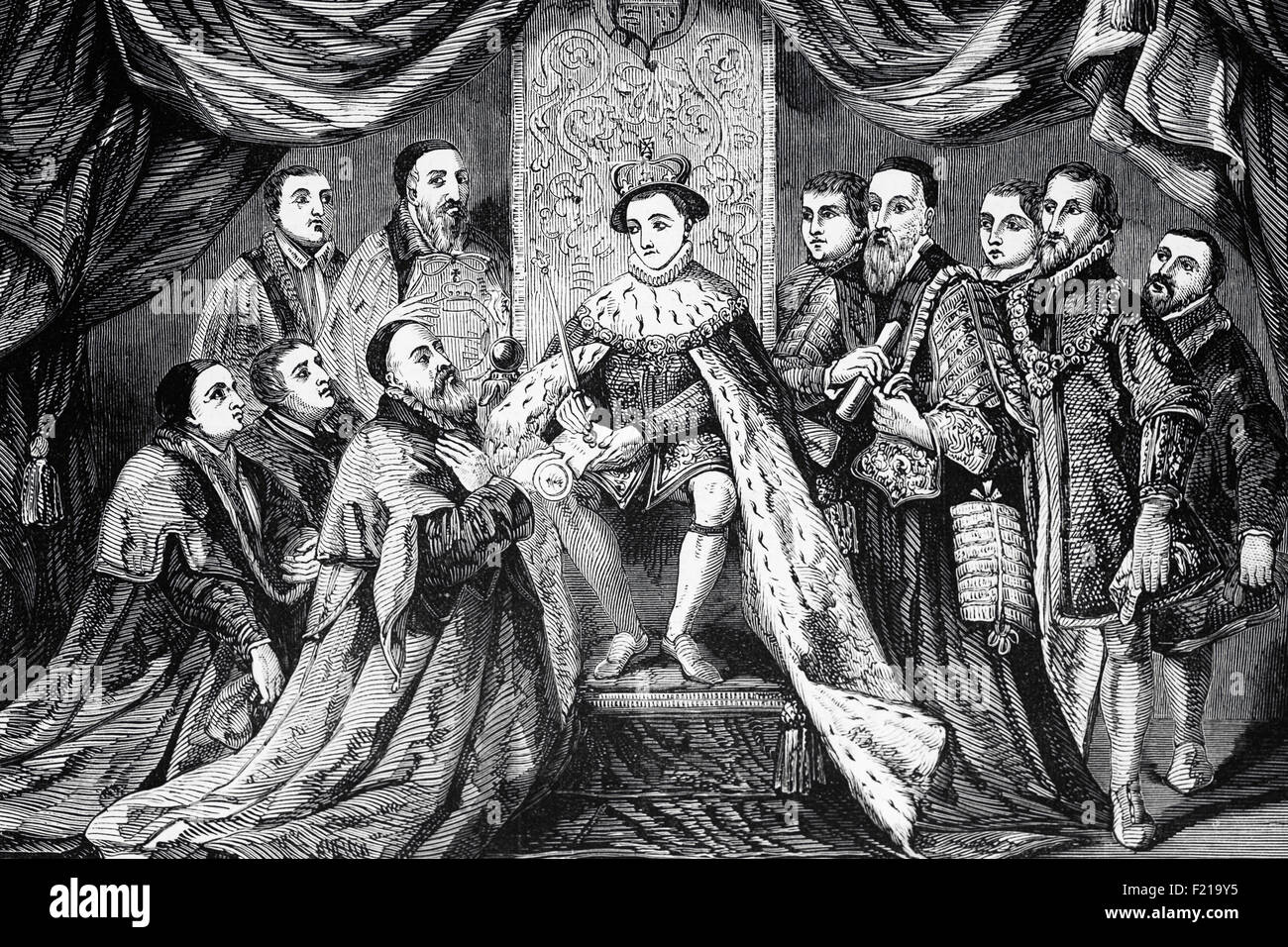 Edward VI granting the Charter to Bridewell Hospital in 1553, London, England. Originally Bridewell Palace it wasa - Stock Image