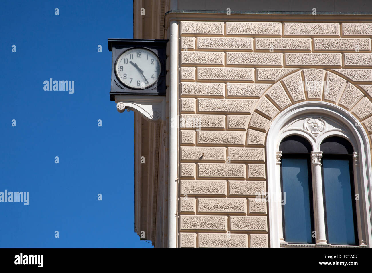 The Bologna train station clock stopped at 10:25, remained a symbol of the station bombing in 1980, Bologna Italy - Stock Image