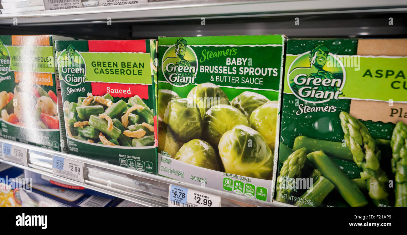 Packages of General Mills' Green Giant brand frozen vegetables in a supermarket freezer on Thursday, September - Stock Image