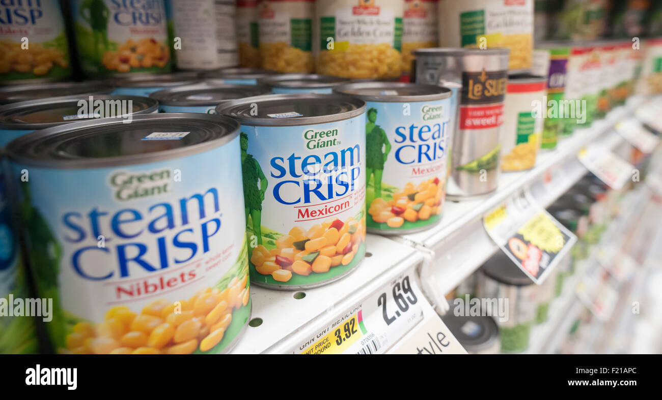 Packages of General Mills' Green Giant brand canned vegetables in a supermarket freezer on Thursday, September - Stock Image