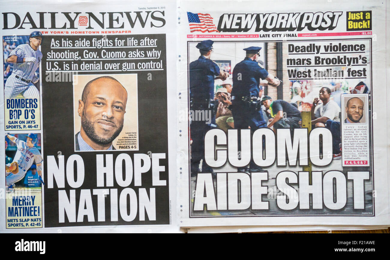 Front pages on Tuesday, September 8, 2015 of the New York Daily News and the New York Post report on the violence - Stock Image