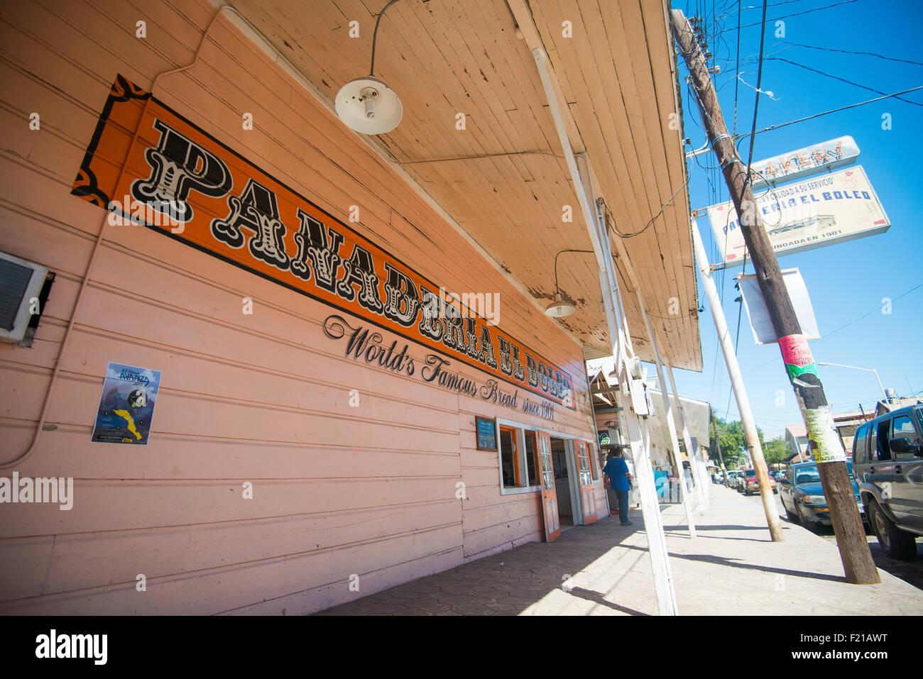 Mexico, Santa Rosalia. Panaderia El Boleo. Iamge of bakery storefront. - Stock Image