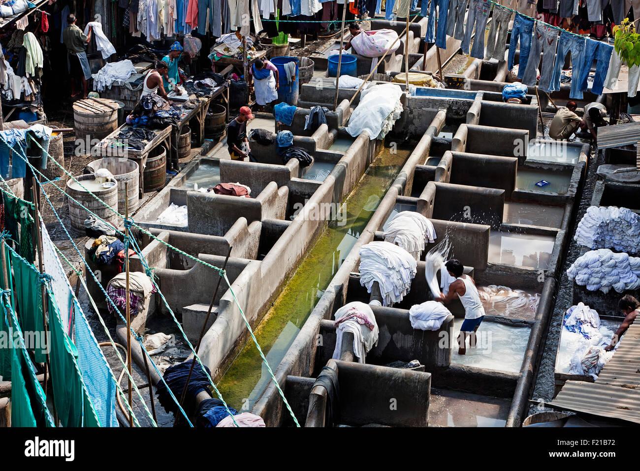 India, Maharashtra, Mumbai, Outdoor laundry, dhobi ghat, Mahalaxmi. - Stock Image