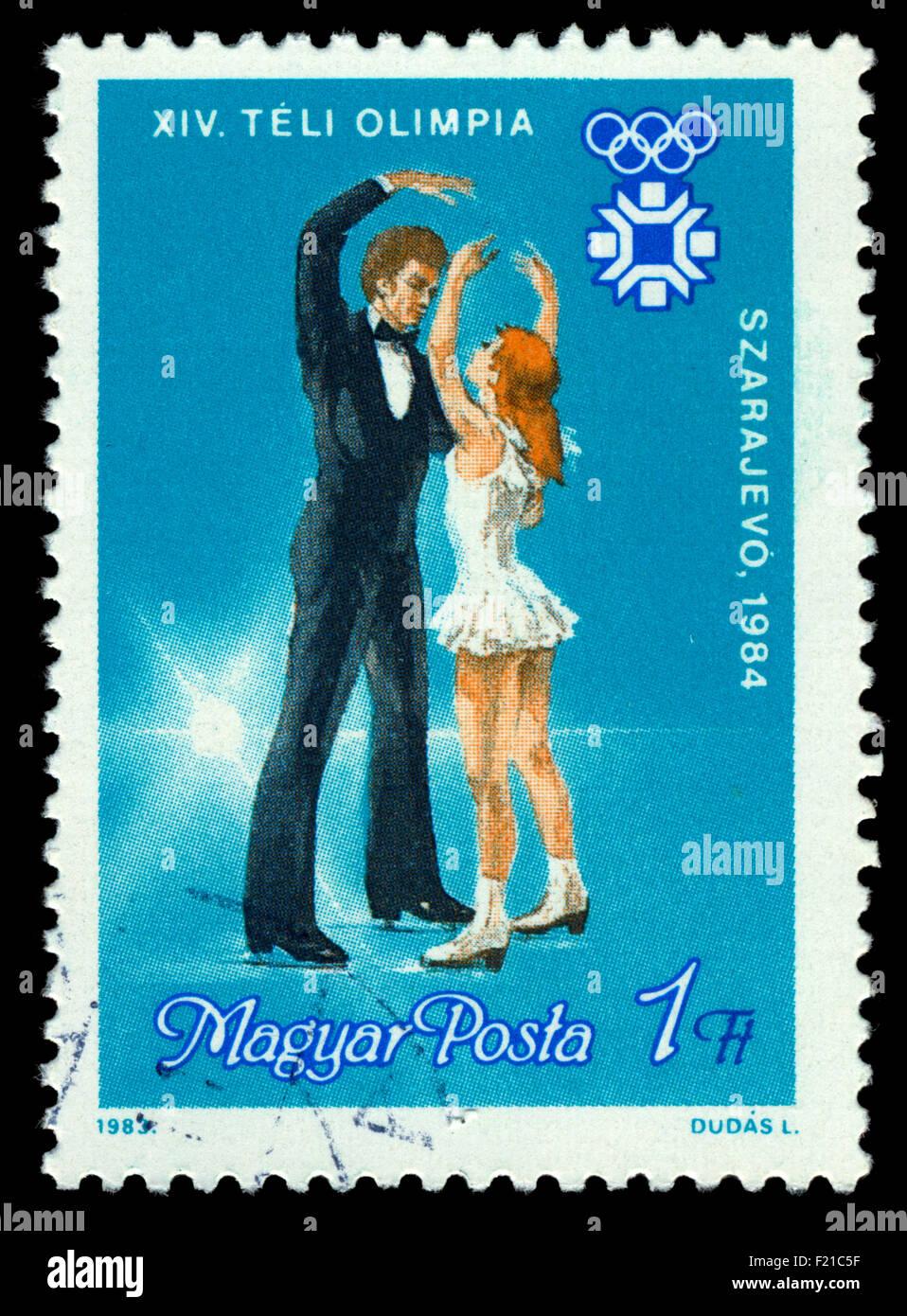 Figure Skating, Magyar Posta Stamp - 1983 - Stock Image