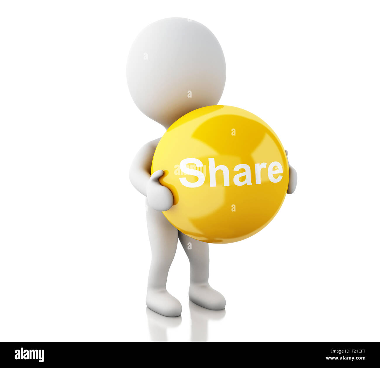 3d Renderer Image White People With Share Symbol Social Media