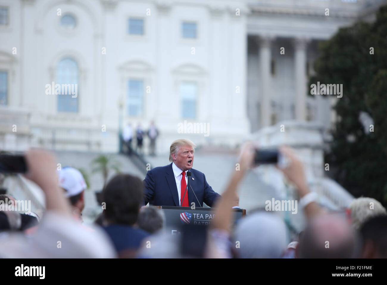 Washington DC, USA. 9th September, 2015. Donald Trump speaks at the Rally Against the Iran Nuclear Deal. Donald - Stock Image
