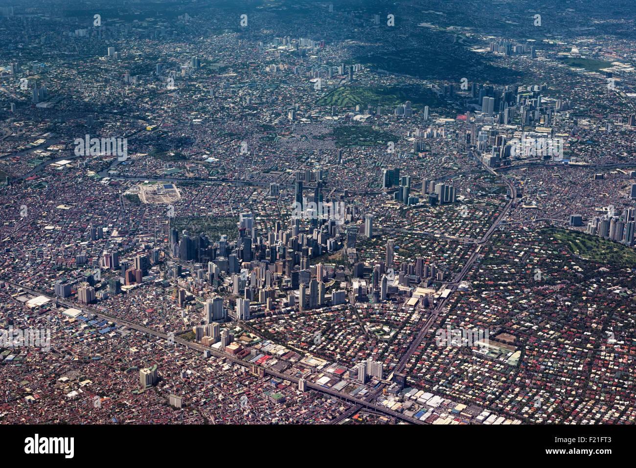 Manila, Philippines -Jun 1, 2015: Metro Manila Aerial View. - Stock Image