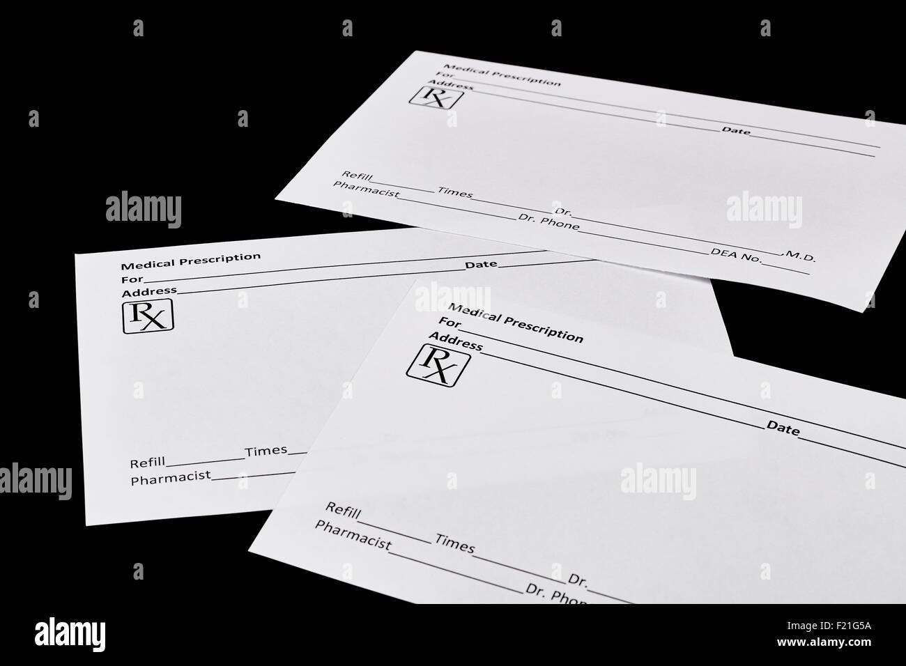 White Medical Prescription Forms Isolated On Black