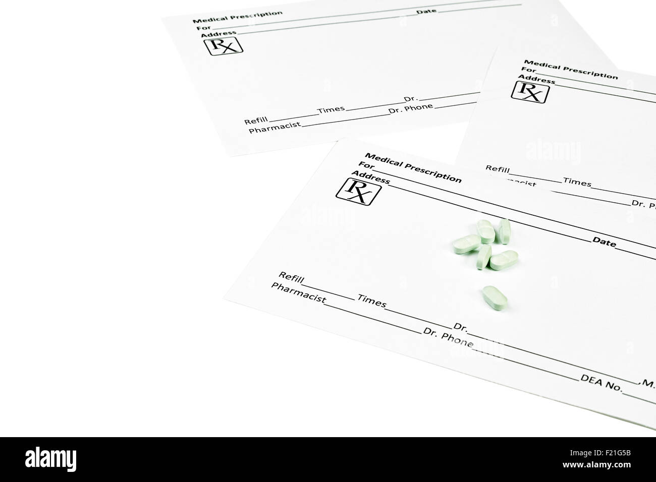 White Medical Prescription Forms With Pills Isolated On