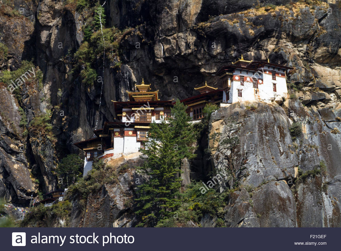 View of the Paro Monastery known as Tiger's Nest, or Taktsang Palphug Monastery, high on cliffs above the valley Stock Photo