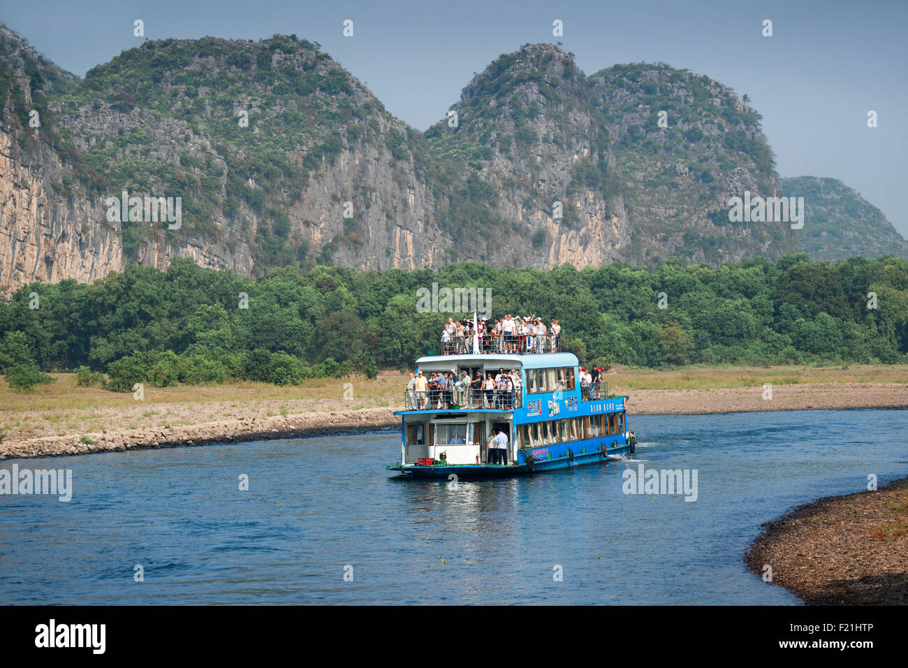Li River cruise, Guilin to Yangshuo, China, Asia Stock Photo