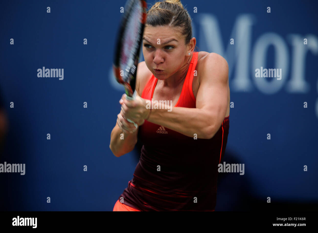 New York, USA. 9th September, 2015. Romania's Simona Halep in action against  Victoria Azaraenka of Belarus - Stock Image