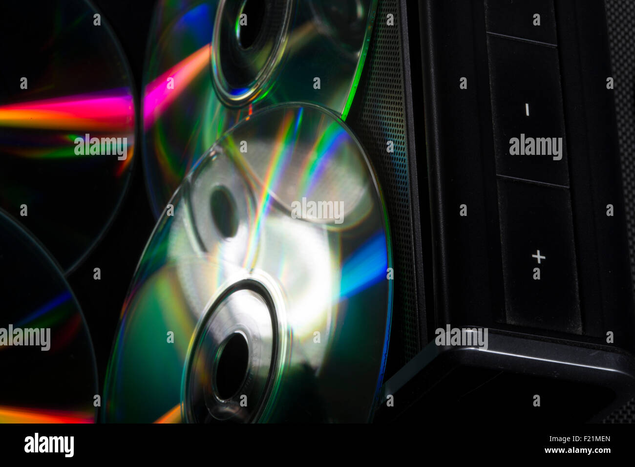 compact disc and music box - Stock Image
