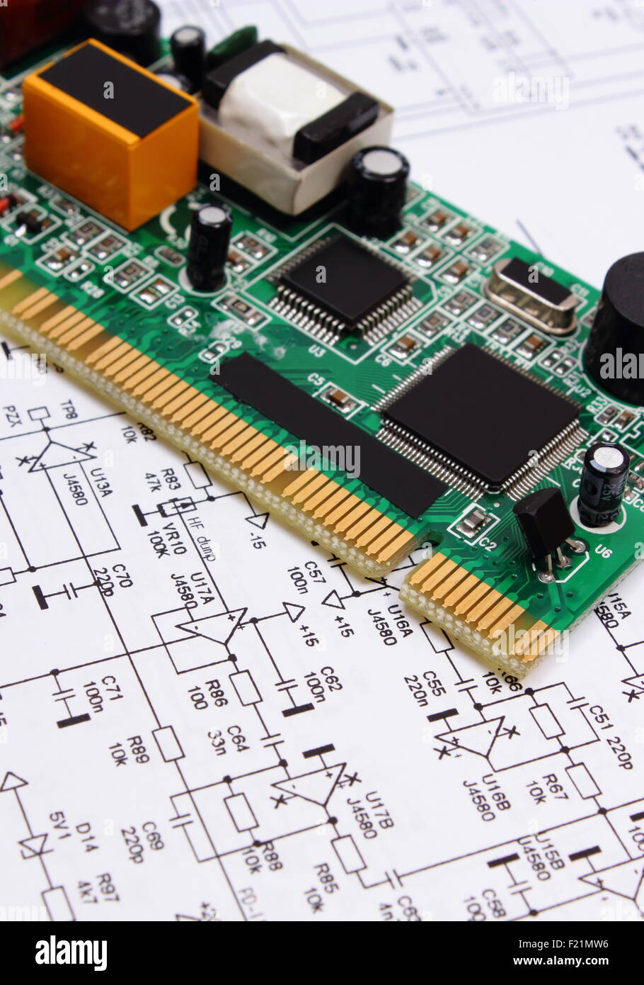 Printed Circuit Board Drawing Stock Photos Multilayer Wiring With Electrical Components Lying On Construction Of Electronics Drawings For Engineer