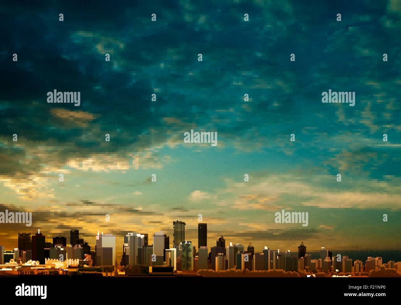 abstract clouds background with panorama of city vector illustration - Stock Vector