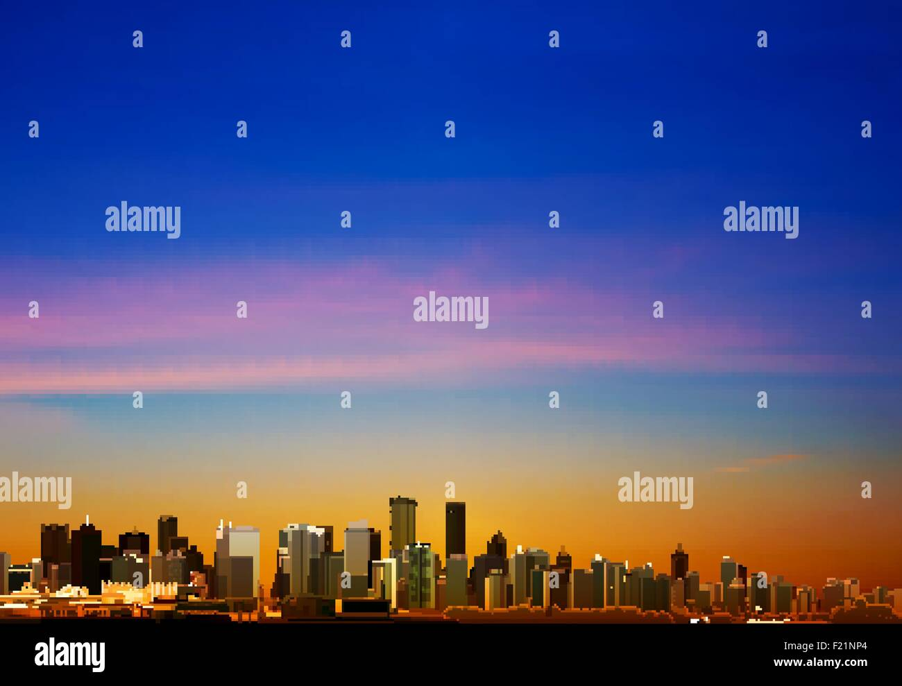 abstract sunrise background with panorama of city vector illustration - Stock Vector