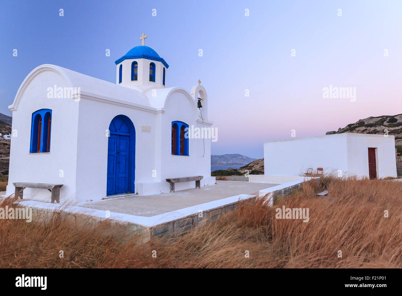 Chapel in the evening light, Karpathos, Dodecanese, Greece Stock Photo