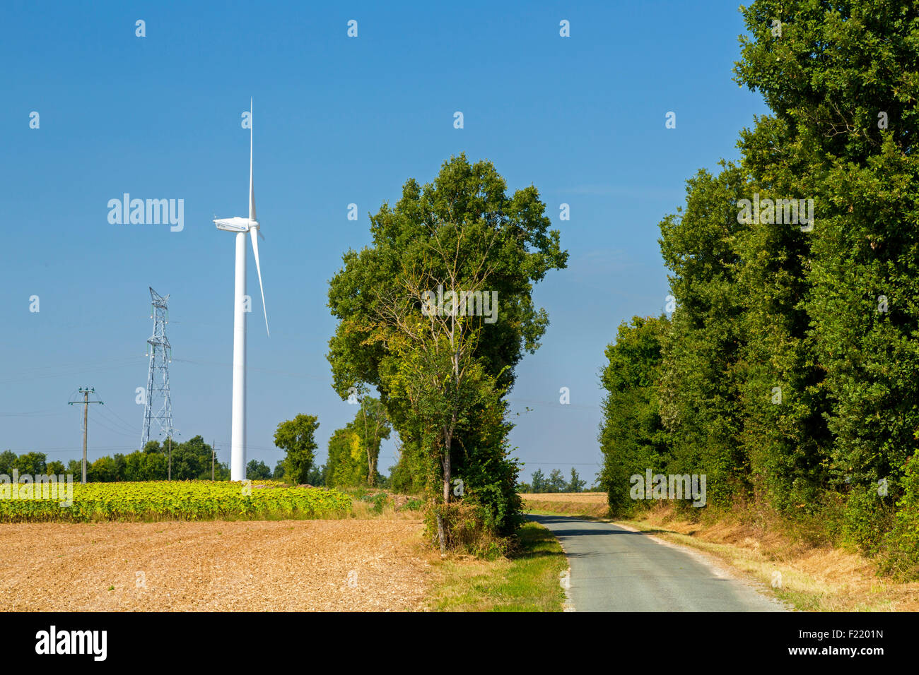 Wind farm at Charentenay, Poitou Charentes, Charente Maritime, France Stock Photo