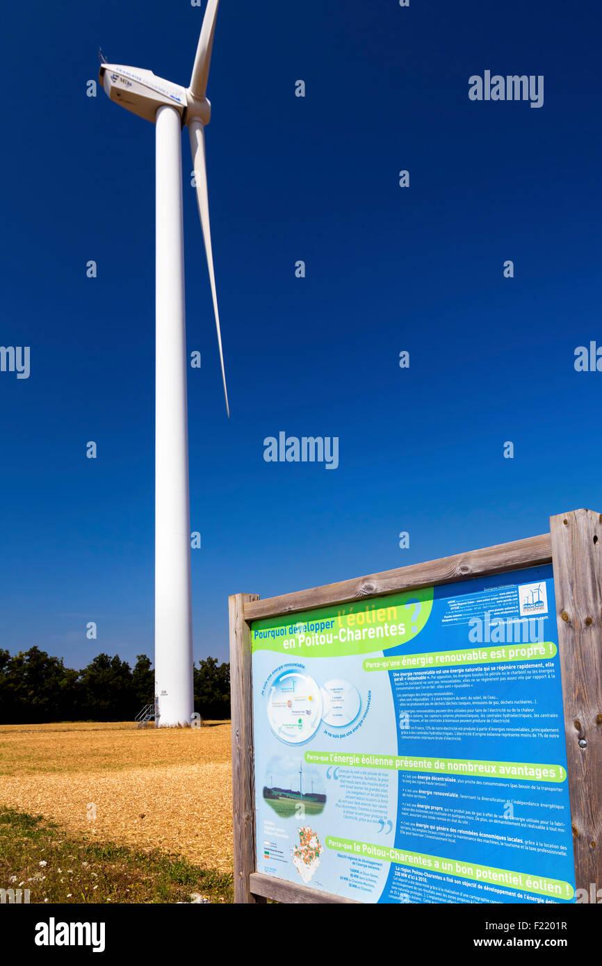 Wind farm at Charentenay, Poitou Charentes, Charente Maritime, France Stock Photo