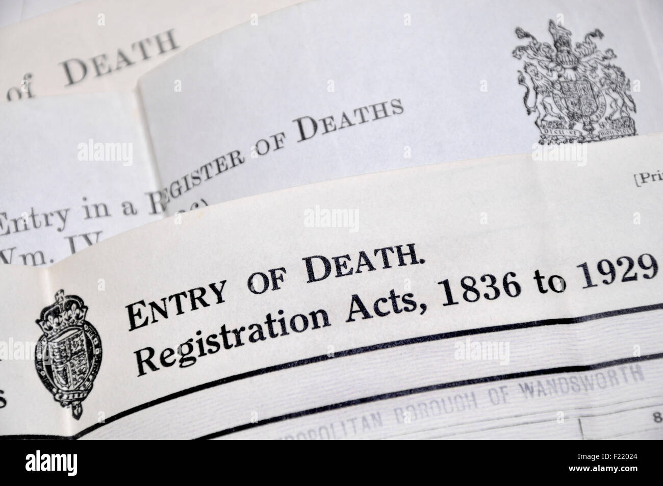Death certificates (British) Stock Photo