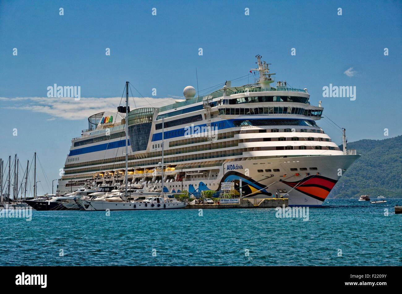 Cruise ship AIDA Diva on quay at the Cruise port of Marmaris, Turkey. Stock Photo