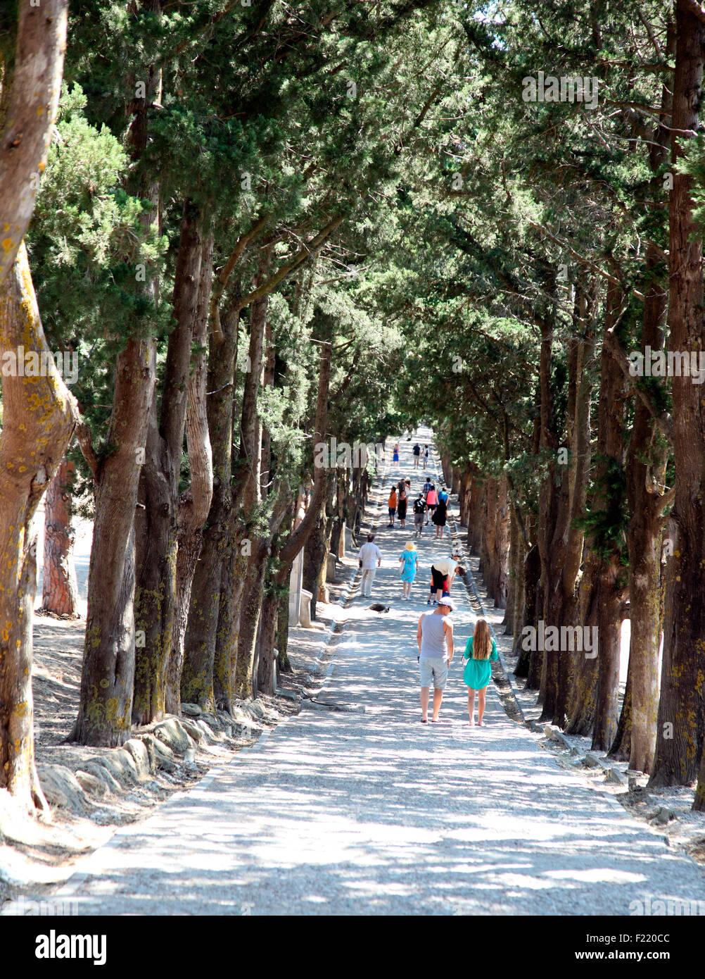 Road to Calvary, Monks Walk at Filerimos Monastery on Rhodes - Stock Image