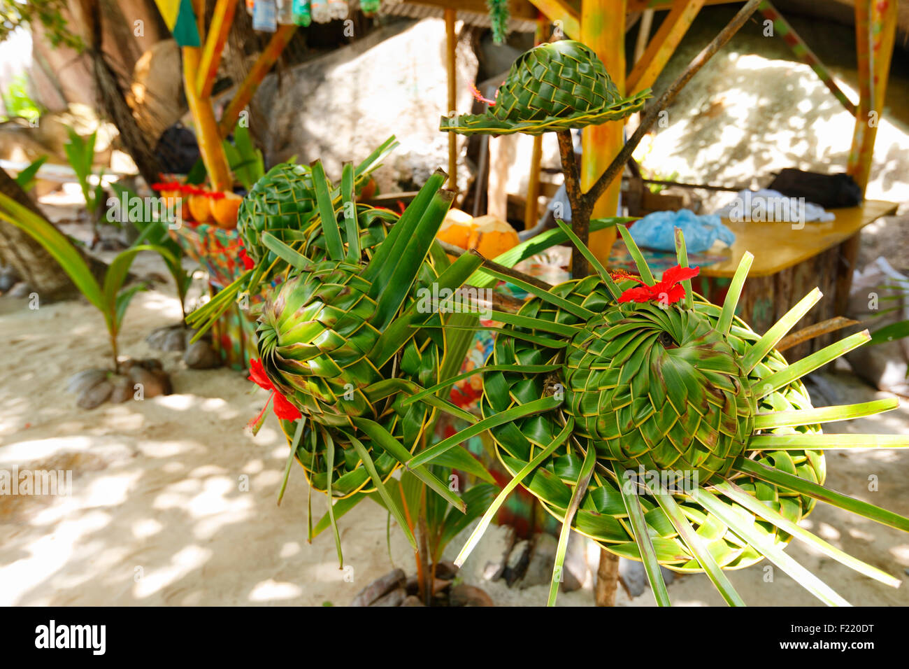 Hat woven of palm leaves, Seychelles - Stock Image