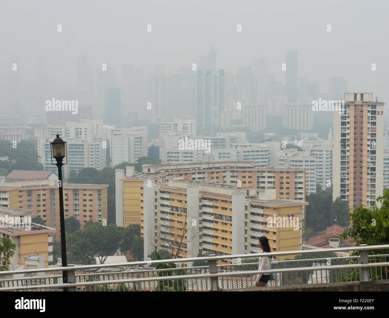 Singapore. 10th Sep, 2015. Haze looms over Singapore's downtown area, on Sept. 10, 2015. Singapore's pollution - Stock Image