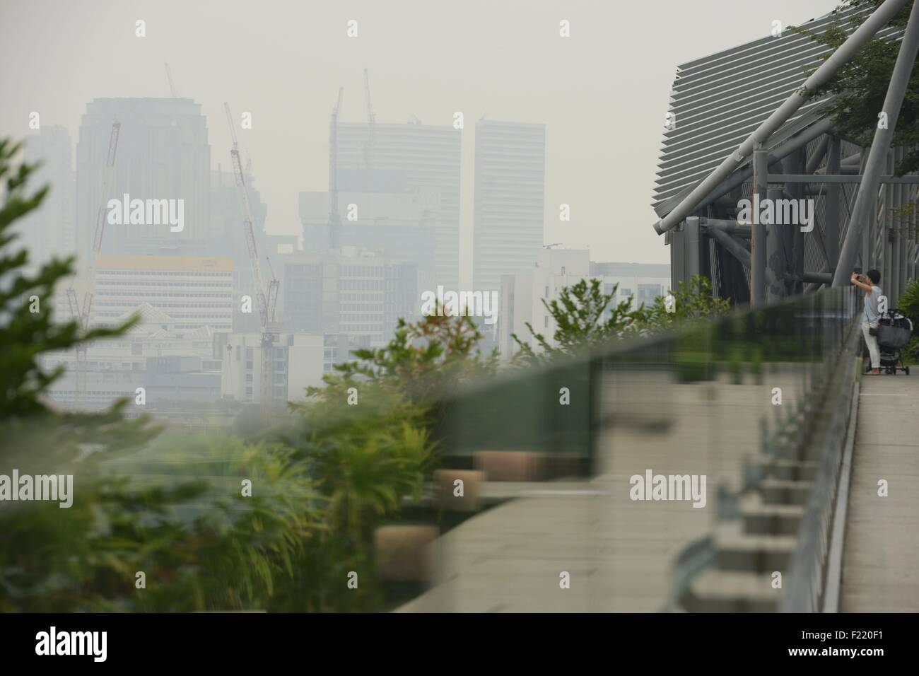 Singapore. 10th Sep, 2015. Haze looms over Singapore's shopping belt Orchard Road, on Sept. 10, 2015. Singapore's - Stock Image