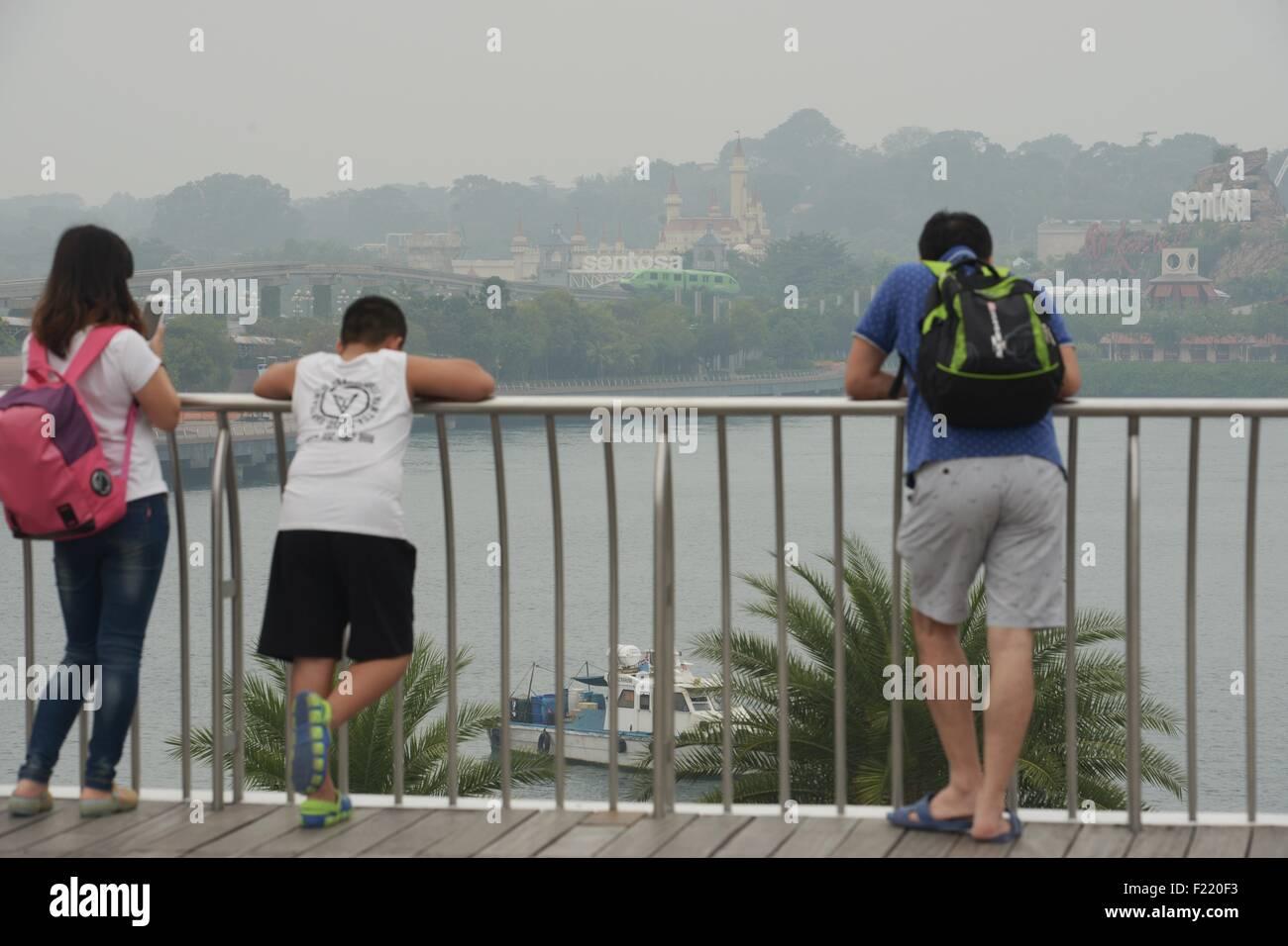 Singapore. 10th Sep, 2015. Haze looms over Singapore's Sentosa Island, on Sept. 10, 2015. Singapore's pollution - Stock Image