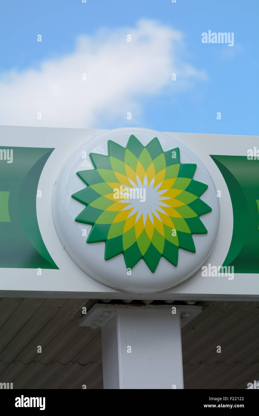 Bp British Petroleum Symbol On Garage Forecourt In Stony Stratford