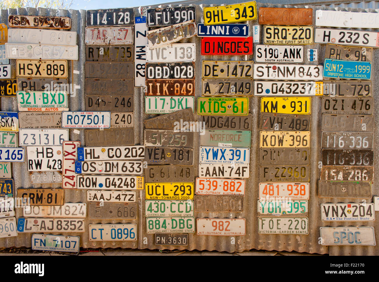 An outback legend of the Northern Territory: the Daly Waters Pub. Here: number plates of guest cars - Stock Image