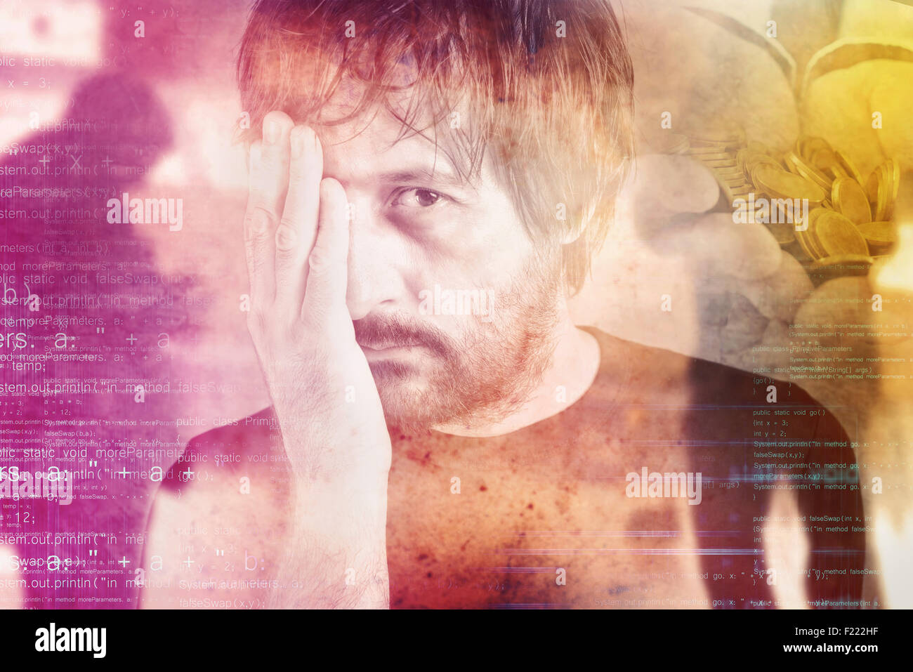 Double exposure portrait of man in financial trouble, money problems, drowned by debt concept. - Stock Image