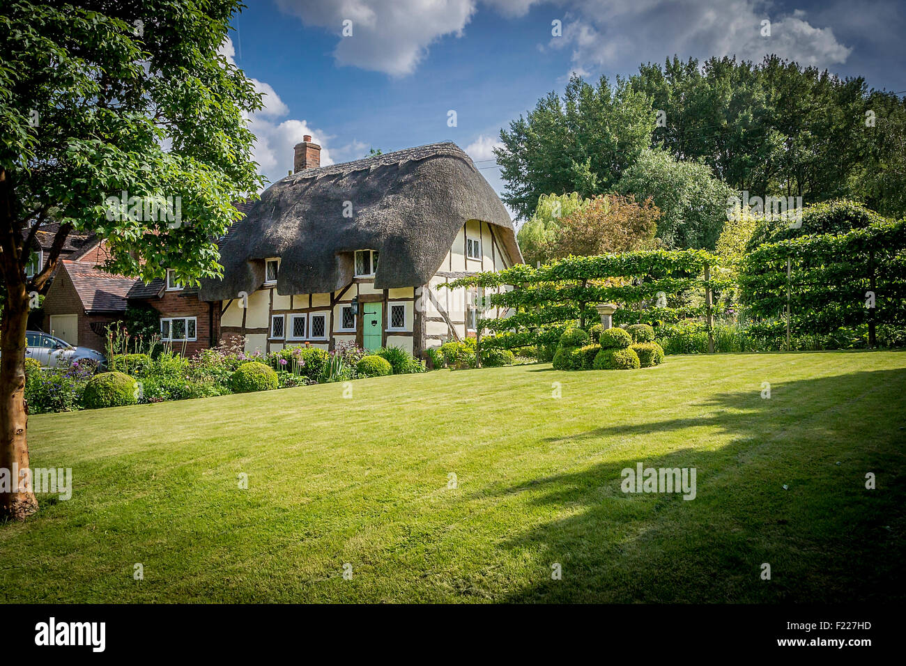 Picturesque English thatched cottage and garden - Stock Image