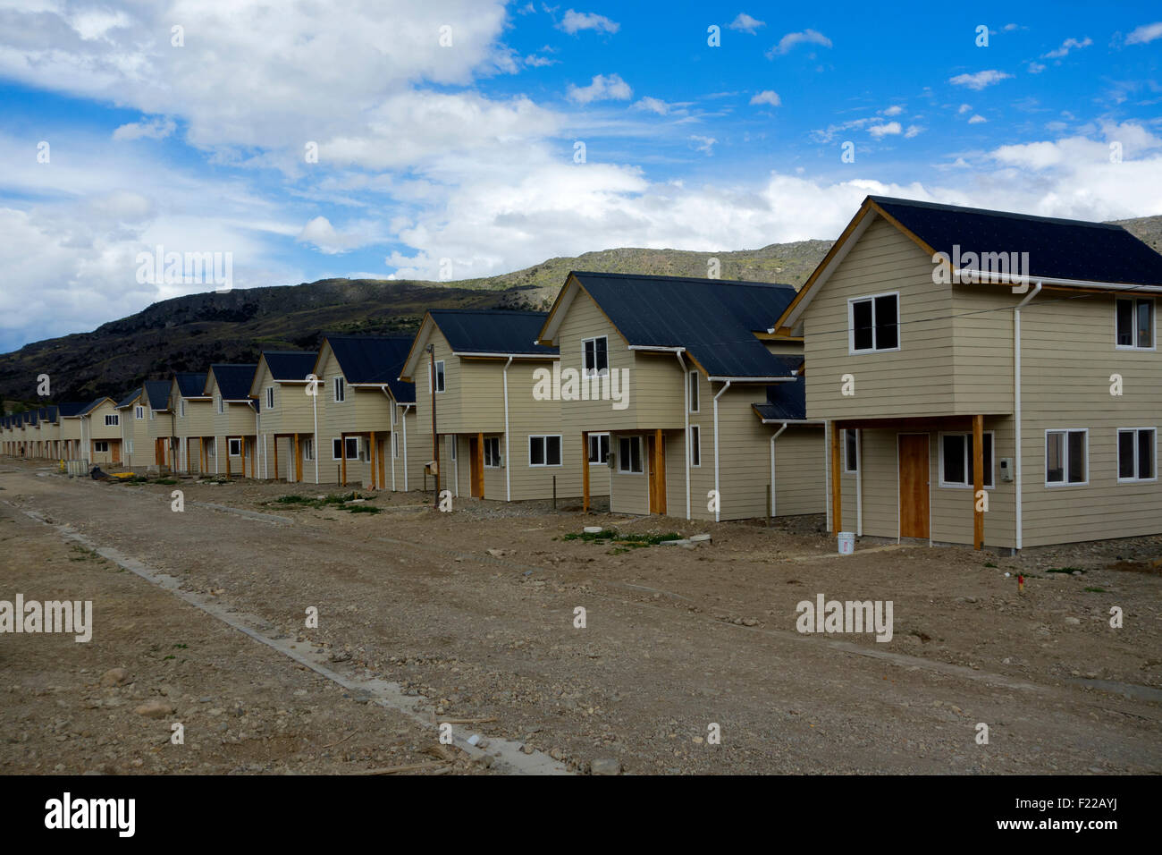 Prefabricated houses. Patagonia. Chile - Stock Image