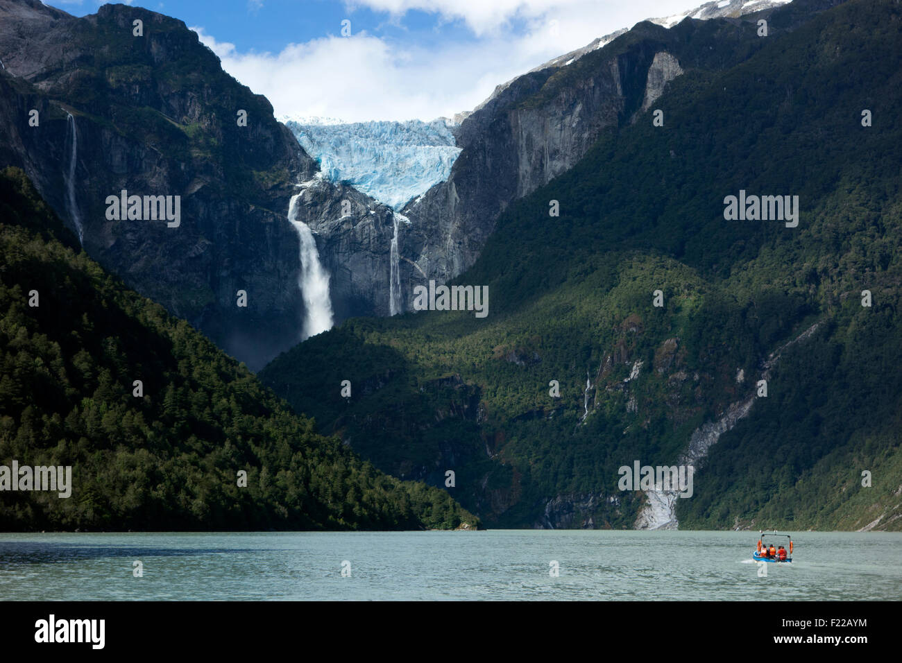 The hanging glacier. Queulat National Park. Aysén Region. Chile - Stock Image