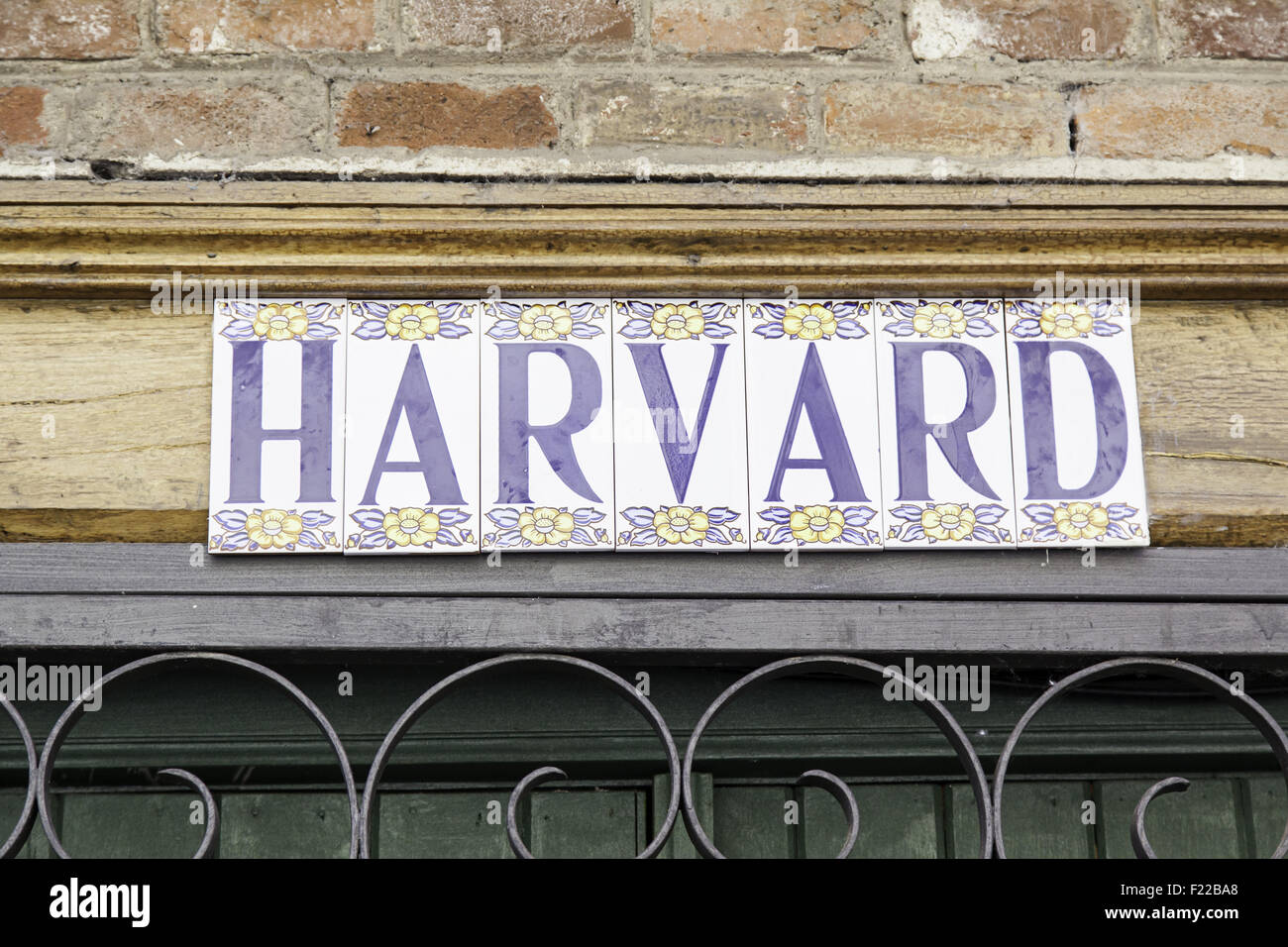 Sign Harvard University, detail signal information, education Stock Photo