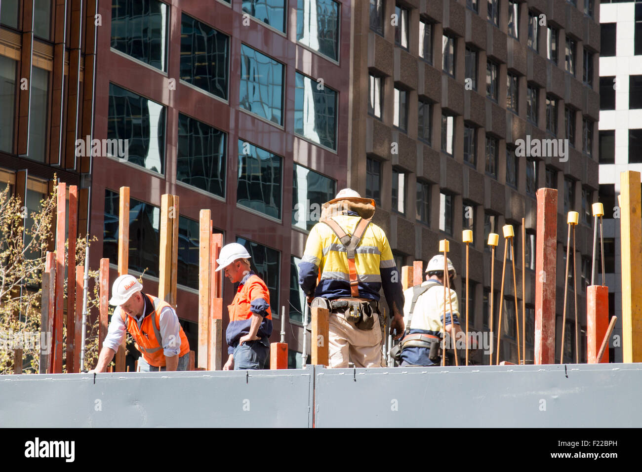 workers on a construction site in Sydney city centre,new south wales,australia Stock Photo