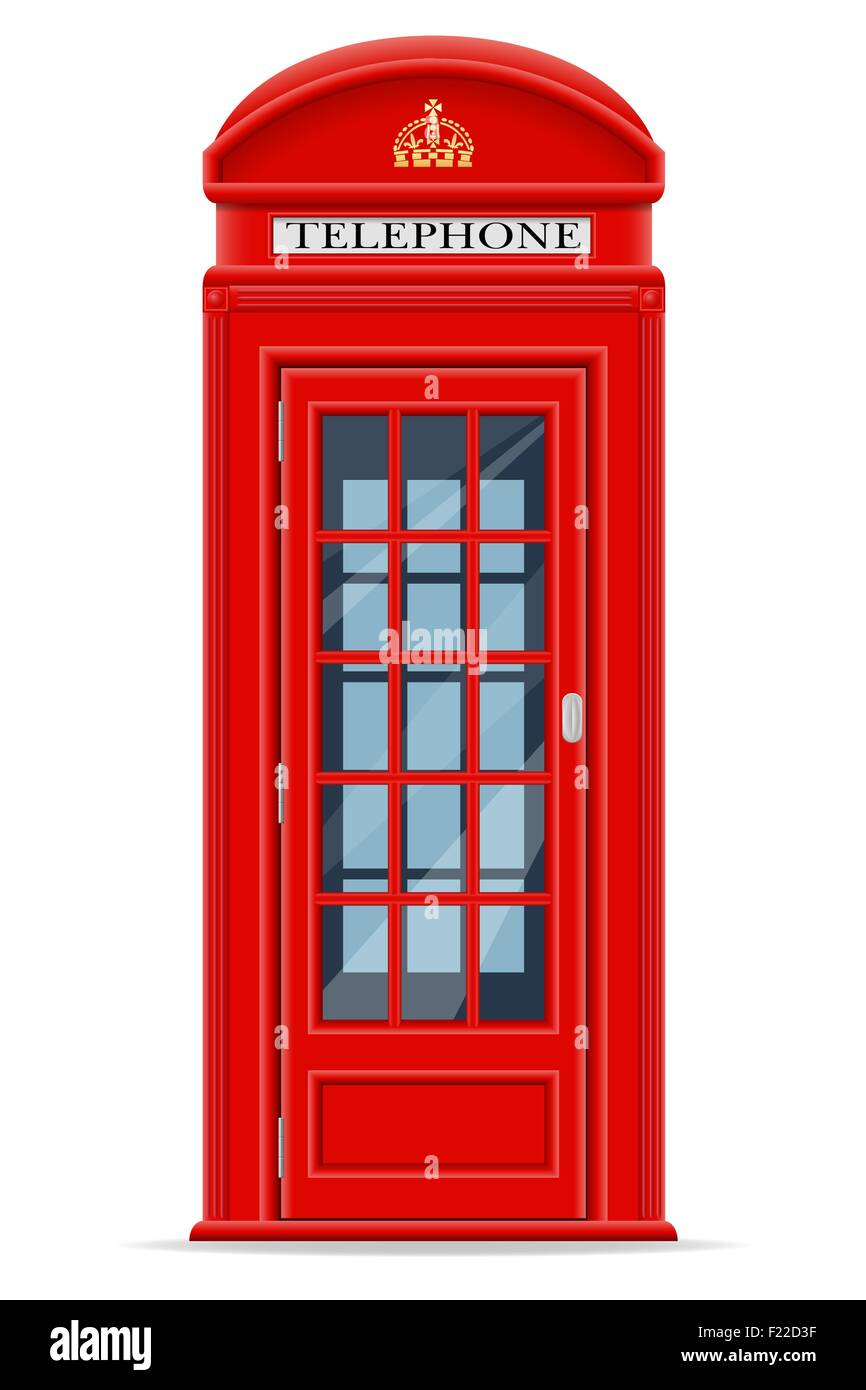 london red phone booth vector illustration isolated on white background - Stock Image