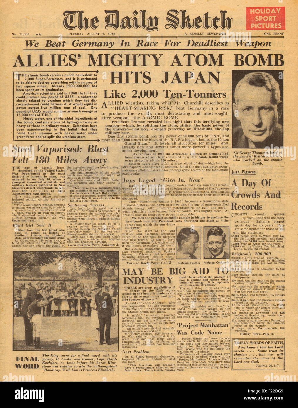 1945 Daily Sketch front page reporting Atomic bomb dropped on Stock