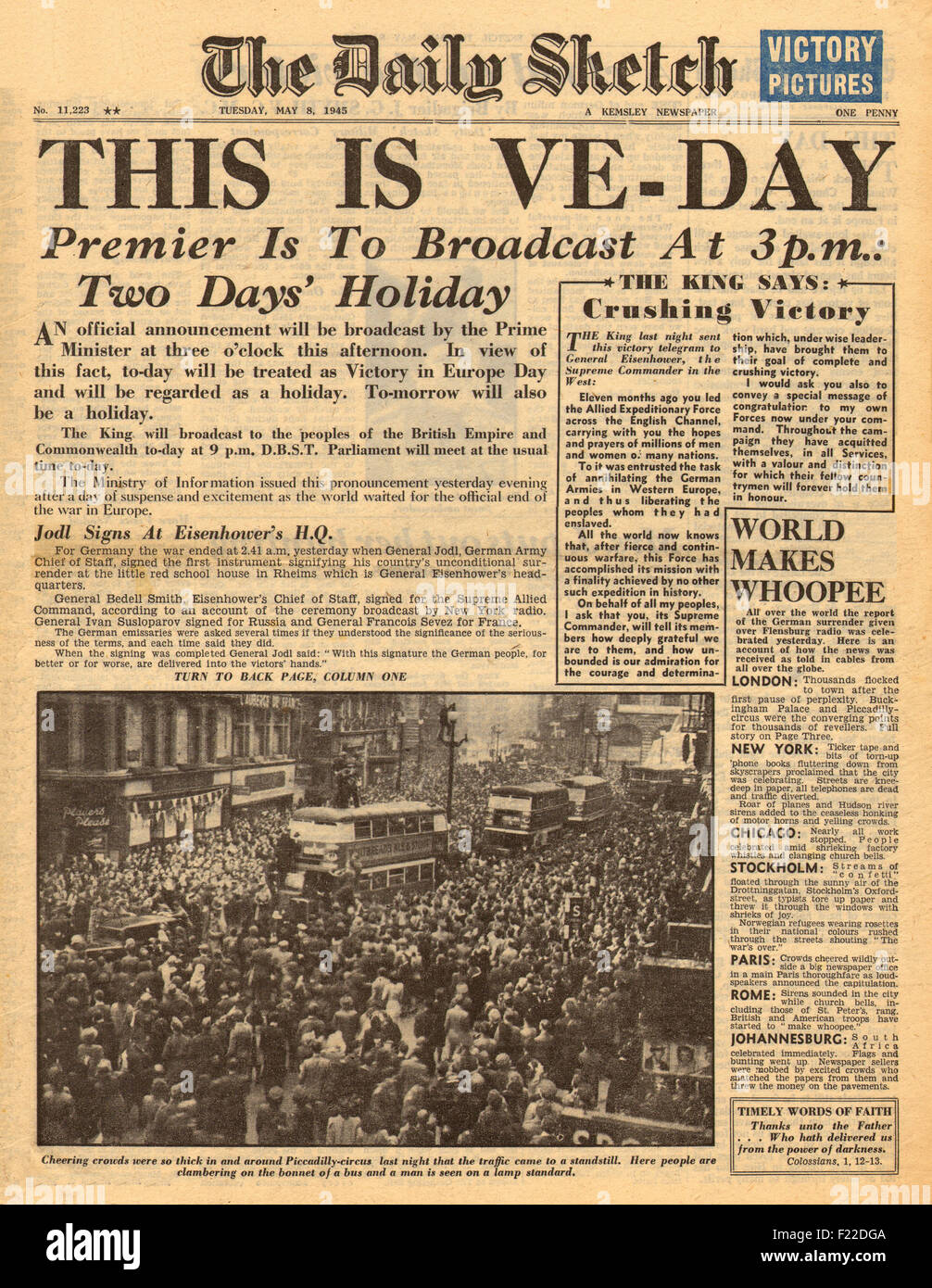 1945 Daily Sketch front page VE Day Stock Photo: 87335706 - Alamy